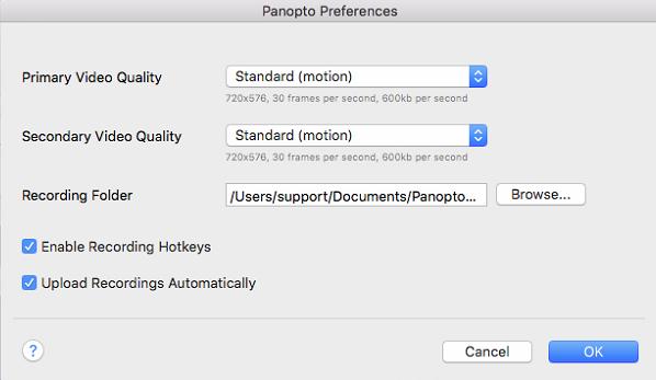 Preferências Panopto